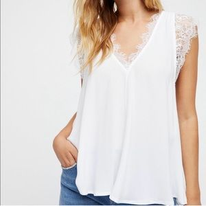 NWT FREE PEOPLE Lovin' On You White Lace Tank Top